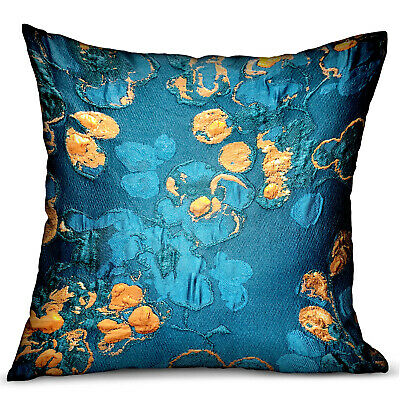 Plutus Bronze Blossom Blue Floral Luxury Throw Pillow Double Sided  12 X 20