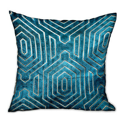 Plutus Cerulean Velvet Blue Geometric Luxury Throw Pillow Double Sided 12 X 20