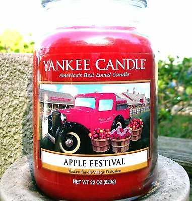 """Yankee Candle """"apple Festival"""" Deerfield Village Exclusive ~ Large 22 Oz.~ Rare"""