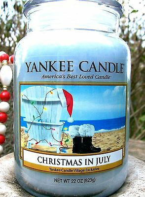 """Yankee Candle """"christmas In July"""" Deerfield Village Exclusive  22 Oz. Rare~vhtf"""