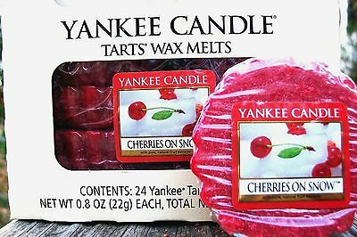 "Box Lot Of 24 Yankee Candle ""cherries On Snow"" Tarts Wax Melts"