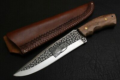 Stainless Steel Etched Blade,hunting Bushcraft Knife, Wallnut Handle