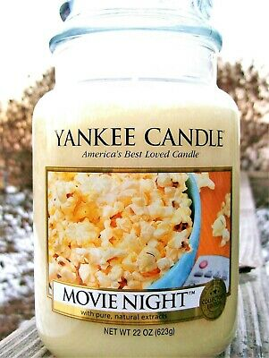 "Yankee Candle""movie Night"" Large 22 Oz~white Label~collector"