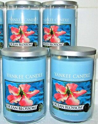 """Set Of 4 Yankee Candle """"ocean Blossom""""~ 2-wick ~ Large 22 Oz.~ White Label~ Rare"""