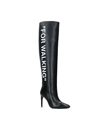 "New Off-white ""for Walking"" Black Leather Over-the-knee Boots 35eu/5us $2200.00"