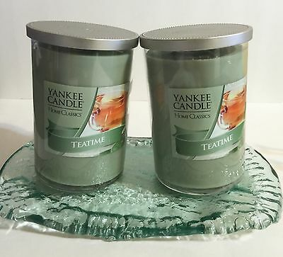 Yankee Candle Teatime Tea Time Soy Wax Scented Candle Set 2 Count Glass Tray