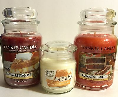 Yankee Candle Carrot Cake Cannoli Cream Caramel Pecan Pie Soy Wax Candle Set