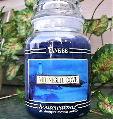"Yankee Candle Retired Black Band ""midnight Cove"" Large 22oz~white Label~rare~new"