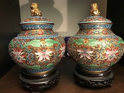 Matching Pair Of Chinese Cloisonne Enamel Champleve Covered Jars