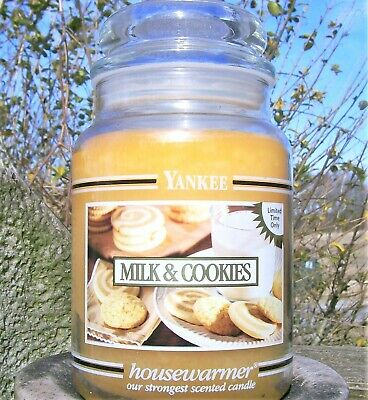 "Yankee Candle Retired Black Band ""milk & Cookies"" Large 22 Oz ~white Label~rare"