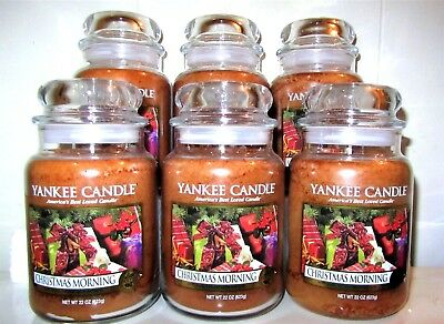 "Set/lot Of 6 Yankee Candle ""christmas Morning""  Large 22 Oz ~ White Label~ New"