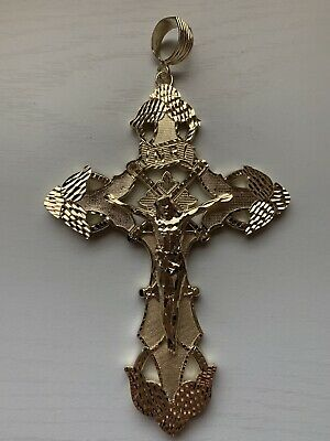 Sterling Silver Gold Plated Diamonf Cut Crucifix .