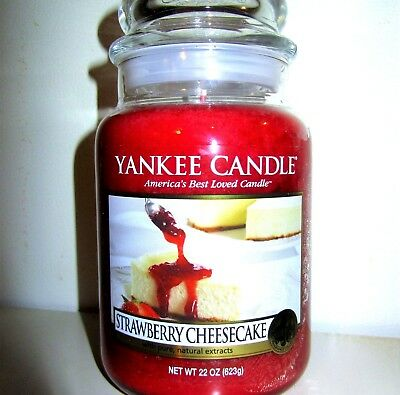 "Yankee Candle Retired ""strawberry Cheesecake""~large 22 Oz ~ White Label~rare~new"