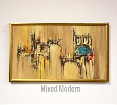 Rita Frost Abstract Oil On Canvas Painting Mid Century Modern
