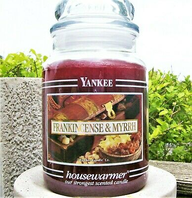"Yankee Candle Black Band ""frankincense & Myrrh"" Large 22 Oz~white Label~rare~new"