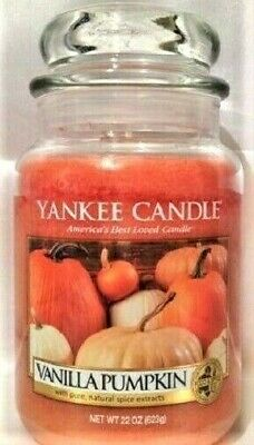 "Yankee Candle Retired ""vanilla Pumpkin"" ~ Large 22 Oz ~ White Label ~ Rare ~ New"