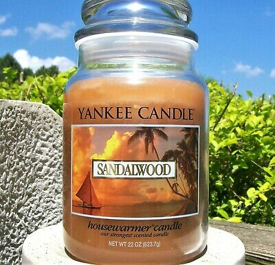 "Yankee Candle Retired ""sandalwood"" ~fresh~ Large 22 Oz ~ White Label~ Rare ~ New"