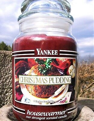 "Yankee Candle Retired Black Band ""christmas Pudding"" Large 22 Oz.white Label~new"