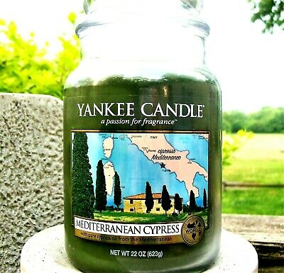 "Yankee Candle Retired World Journeys ""mediterranean Cypress""~ Large 22 Oz ~ Rare"
