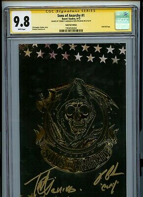 Sons Of Anarchy #1 Cgc Ss 9.8 Gold Foil Flanagan Ron Perlman Signature Series Wp