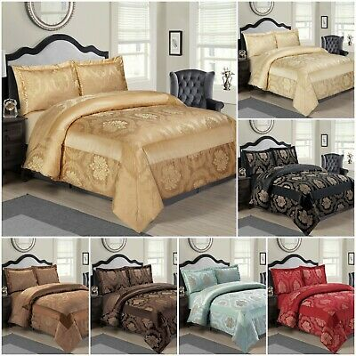 3 Piece Quilted Bedspread Throw Set Comforter Pillow Case Double King Size Bed