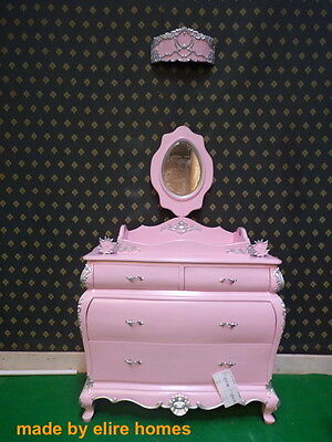 Princess Baby Changer French Bed, Chest Of Drawers And Voal Holder Crown Corona