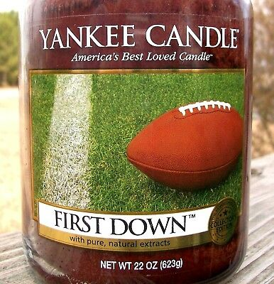 "Yankee Candle Retired ""first Down""~ Football ~large 22 Oz ~ White Label~rare~new"