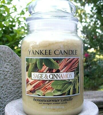 "Yankee Candle Retired ""sage & Cinnamon""~food~large 22 Oz ~ White Label~rare~new"