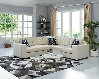 Sectional Sofa With Chaise 3 Piece Set Linen Fabric Plump Stitching