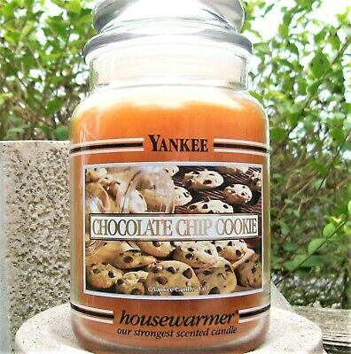 "Yankee Candle Retired Black Band ""chocolate Chip Cookie""large 22 Oz ~white Label"