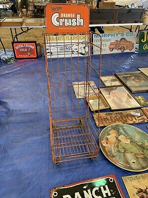 Very Rare Orange Crush Sign Carton Store Rack