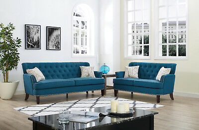 Sectional Sofa Set, 2-piece Tufted Linen Fabric Loveseat Couch W/ Accent Pillow