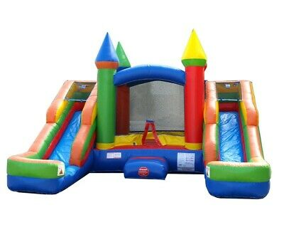 Pogo Kids Rainbow Bounce House Inflatable With Double Wet/dry Slides