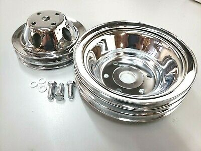 Sbc Small Block Chevy 2 / 3 Groove Chrome Steel Long Water Pump Pulley Kit