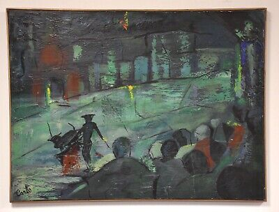 Carlo Of Hollywood Oil On Canvas Painting Mid Century