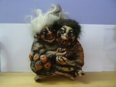 Rare! Fosse Troll Made In Norway Collectible, Adam And Eve Troll No Tag Vtg