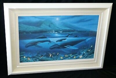 "1980 Hawaii Litho Color Print 141/450 Whales Under ""maui Moon"" By Wyland (moo)"