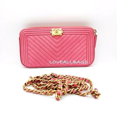 Sold Out! Chanel Chevron Caviar Wallet On Chain  Clutch Bag Rose Pink Gold Chain