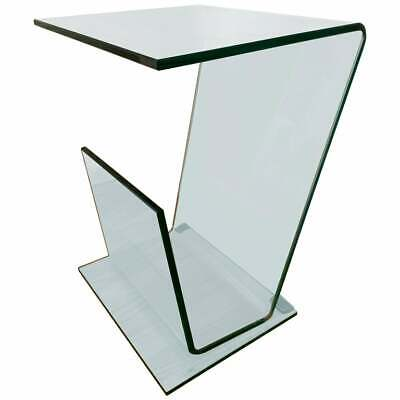 Bent Glass Side Table With A Magazine Rack In The Style Of Pace Collection