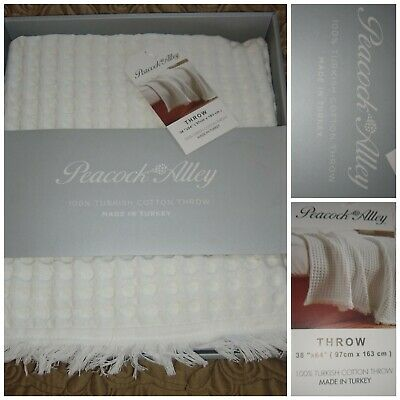New In Box Peacock Alley 100% Turkish Cotton Throw Luxury Linen Msrp $130+