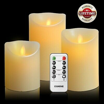 Flickering Moving Wick Flameless Pillar Candle Led Candles Remote Set 3