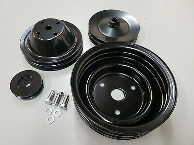 Sbc Small Block Chevy 2 / 3 Groove Black Steel Long Water Pump Pulley Kit 350