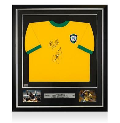 Framed Neymar Jr & Pele Front Signed Retro Brazil Home Shirt Autograph