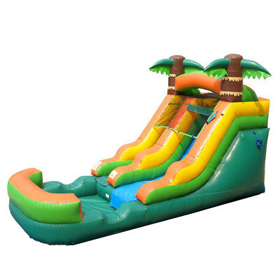 Pogo Tropical Wet/dry Inflatable Kids Slide With Blower & Built-in Pool