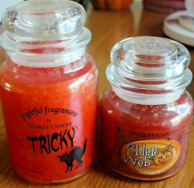 Yankee Candle Tricky And Cider Web Large And Medium Jar ~lot Of 2~ Hard To Find