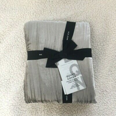 New West Elm Crinkle Velvet Queen Duvet Cover Only Platinum