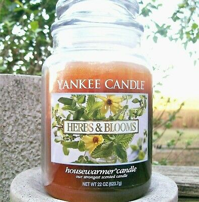 "Yankee Candle Retired ""herbs & Blooms"" Large 22 Oz ~ White Label ~ Rare ~ New"