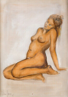 Sketch & Water Color On Paper Painting By Liliane Danino Naked Woman Signed