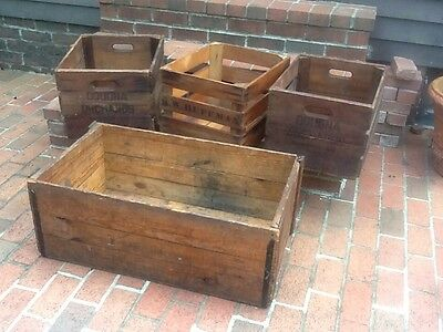 """Lot Of 4 Vintage Wood Holding Crates -  3 - 15""""x18"""" & 1 - 19""""x32"""" - Very Good"""