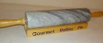 """Gourmet Rolling Pin - Solid Granite, 10"""" With Rack - A Real Beauty"""